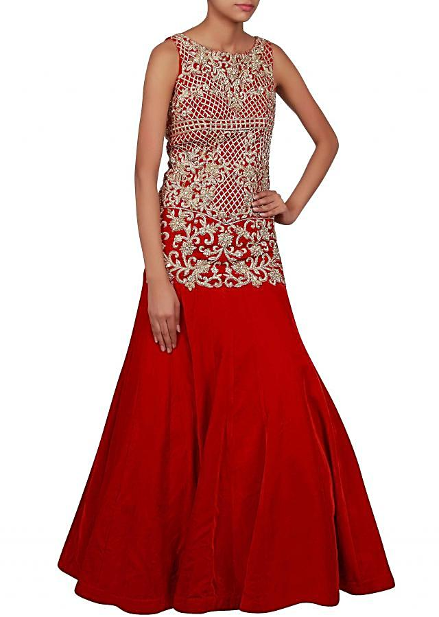 Red gown embellished in zardosi and stone embroidery only on Kalki
