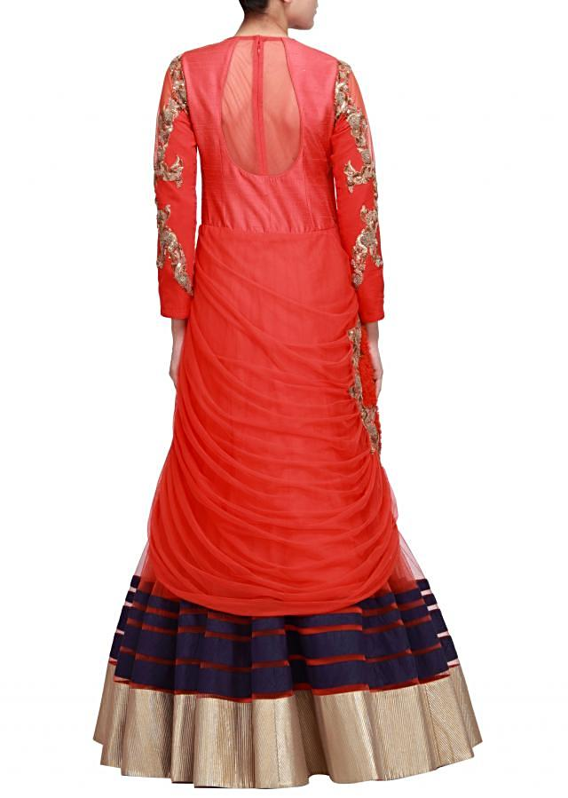 Red gown featuring with french knot embroidery only on Kalki by Ruchi Roongta