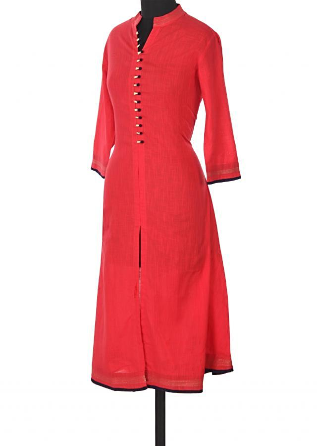 Red kurti adorn in fancy placket button only on Kalki