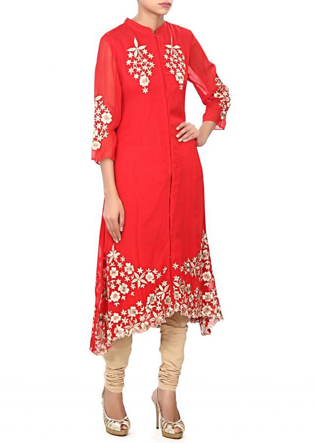 Red kurti adorn in floral resham work only on Kalki