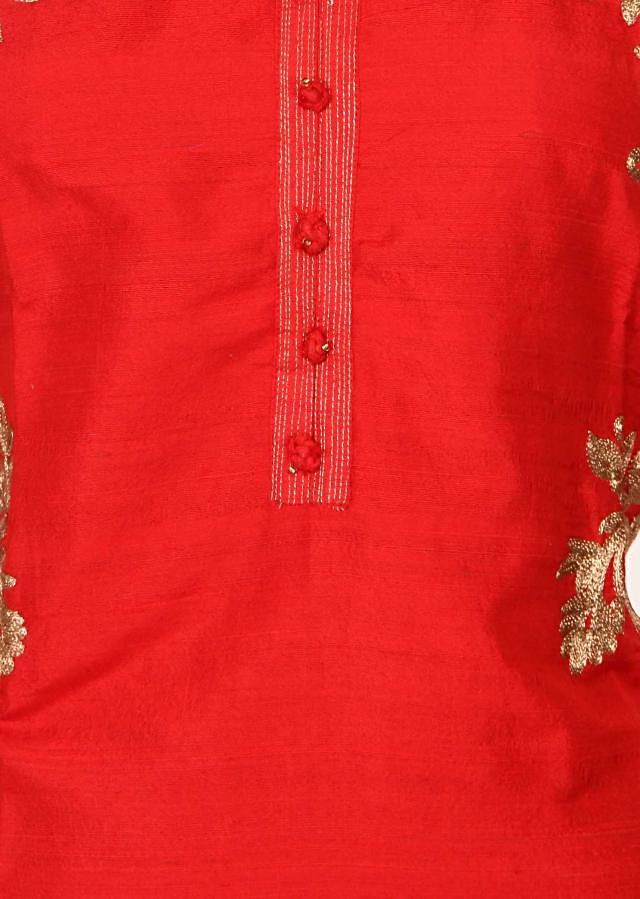 Red kurti adorn in zari embroidery only on Kalki