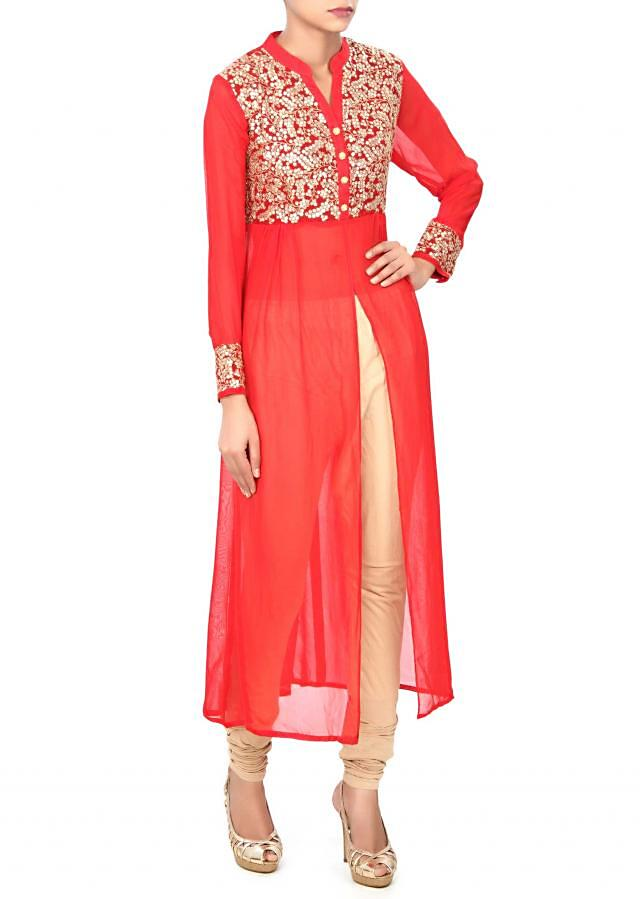 Red kurti enhanced in thread and sequin bodice only on Kalki