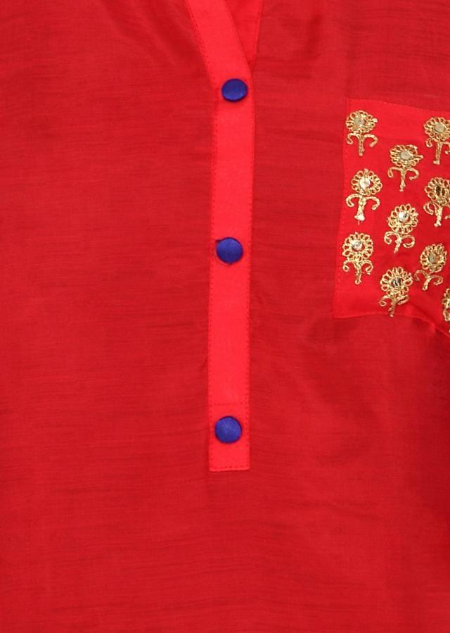Red kurti features with embroidered pocket only on Kalki