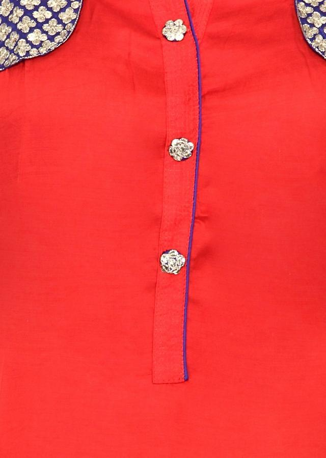 Red kurti features with sequin embellished pocket only on Kalki