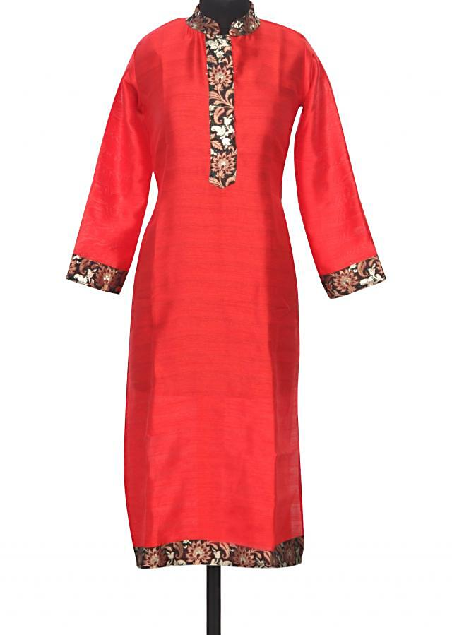 Red kurti featuring with brocade placket only on Kalki