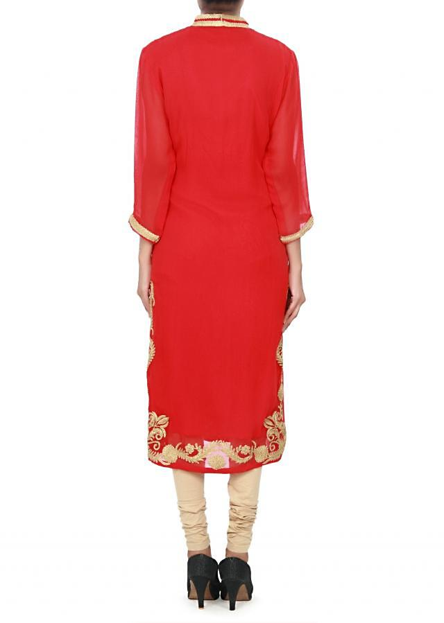 Red kurti featuring with embroidered placket only on Kalki