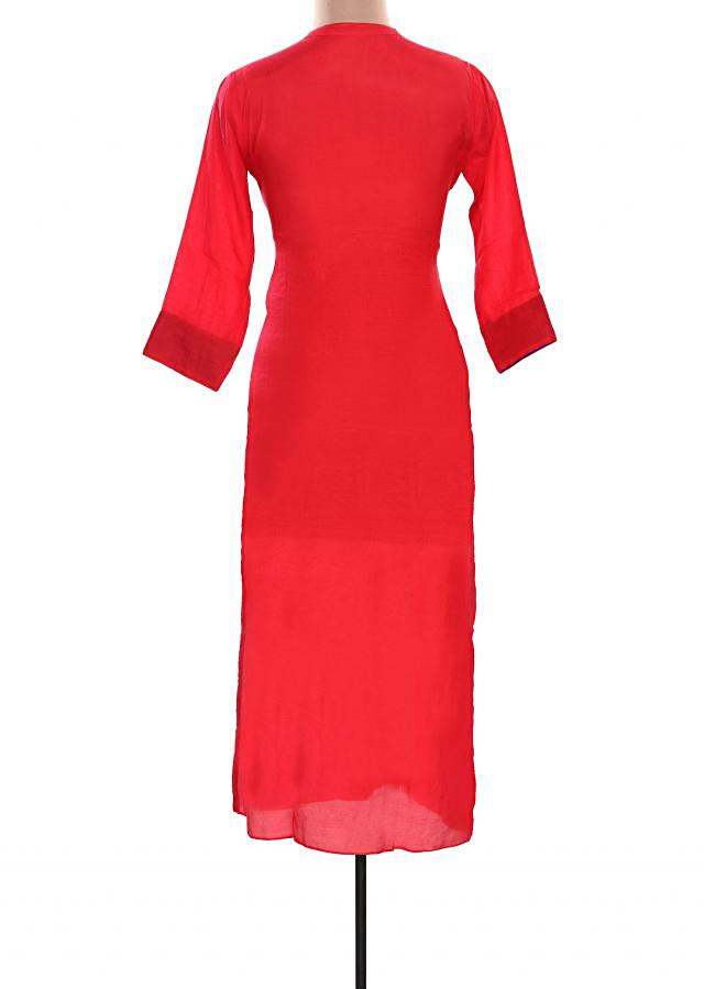 Red kurti featuring with floral motif embroidery only on Kalki