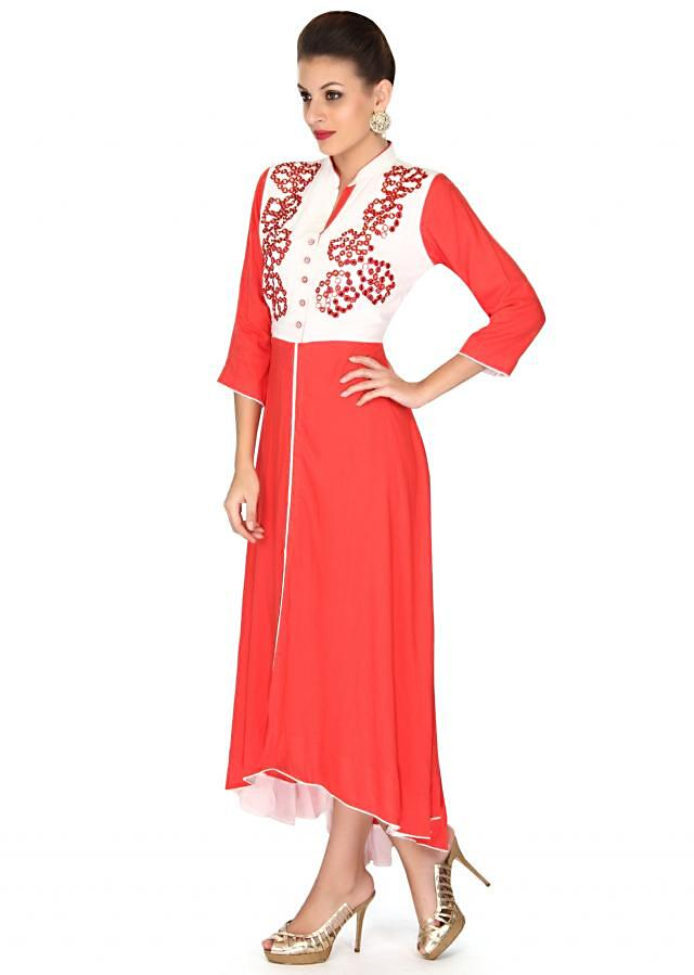 Red kurti in resham and mirror work only on Kalki