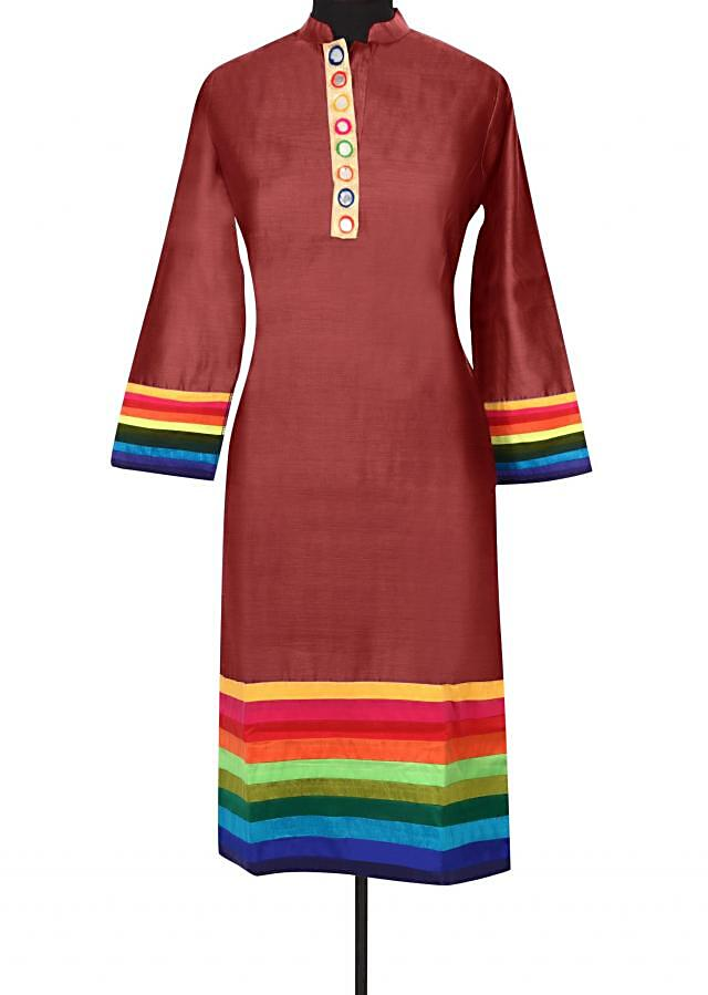 Brown kurti with contrast yoke only on Kalki