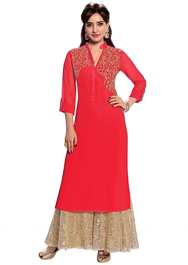 Red kurti with hand embroidered yoke only on Kalki