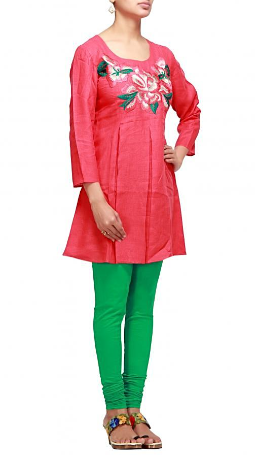 Red kurti with resham work and pleats