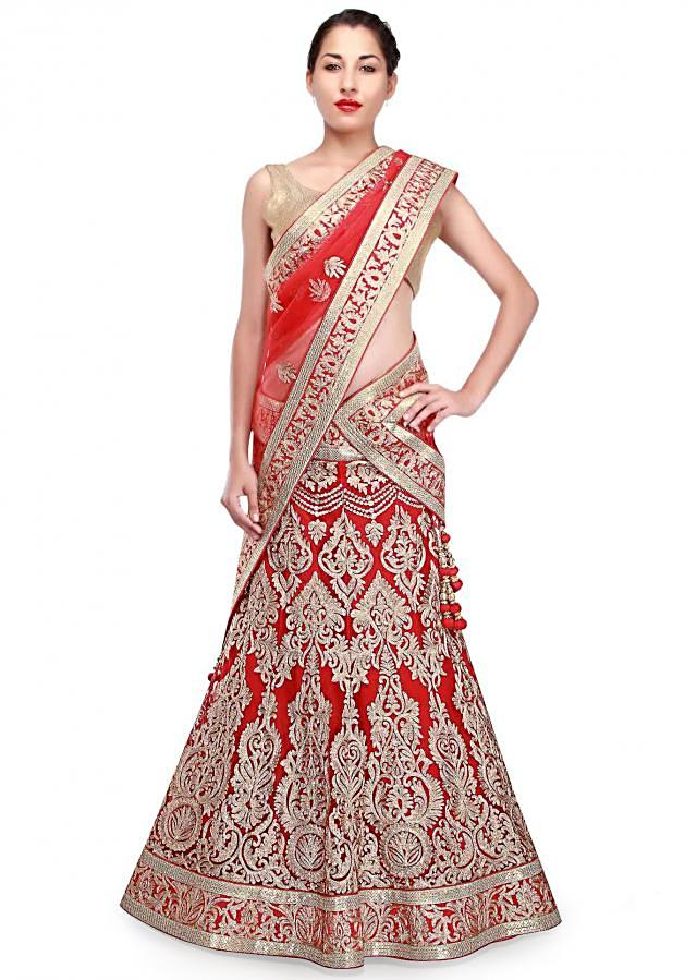 Red lehenga adorn in gold aari embroidery only on Kalki
