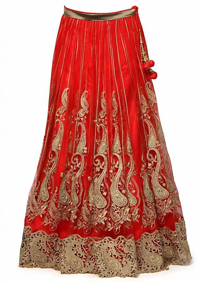 Red lehenga adorn in gold lace only on Kalki