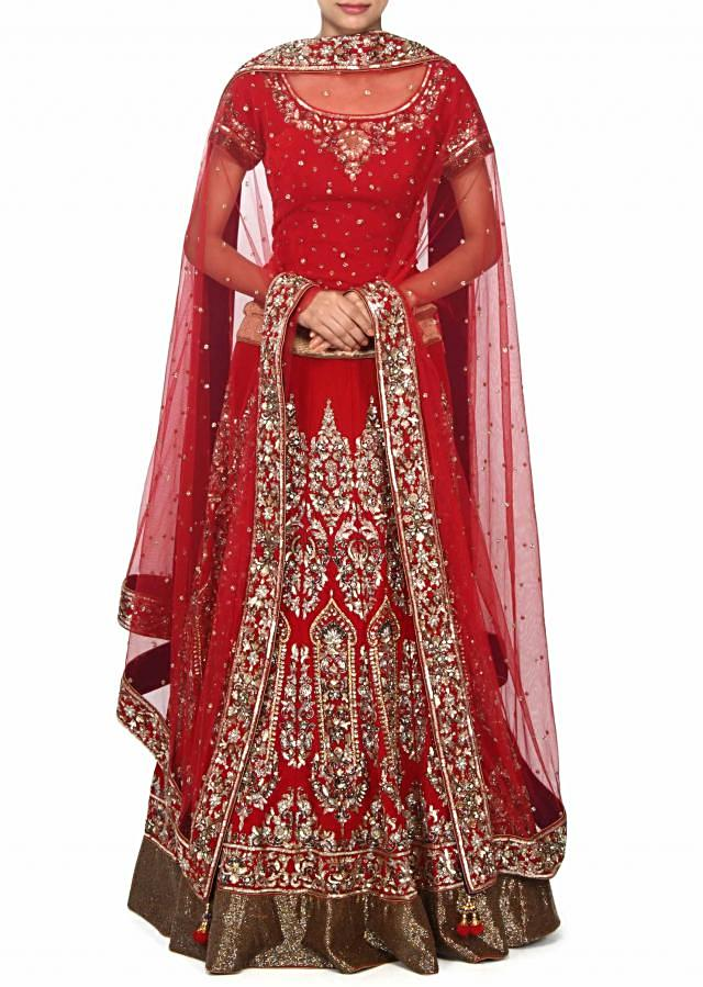 Red lehenga adorn in kundan and sequin embroidery only on Kalki