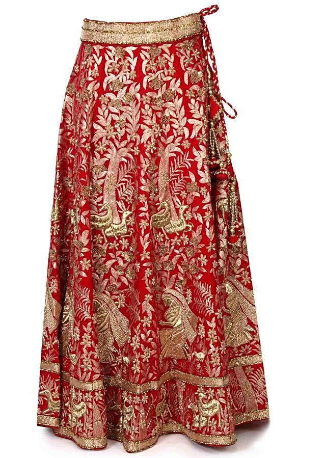 Red lehenga adorn in meenakari zari embroidery only on Kalki