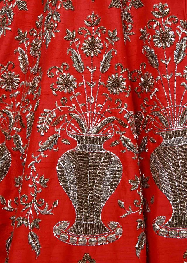 Red lehenga adorn in mirror embroidery only on Kalki