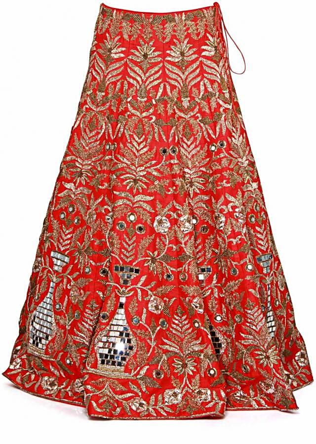 Red lehenga embellished in mirror embroidery only on Kalki