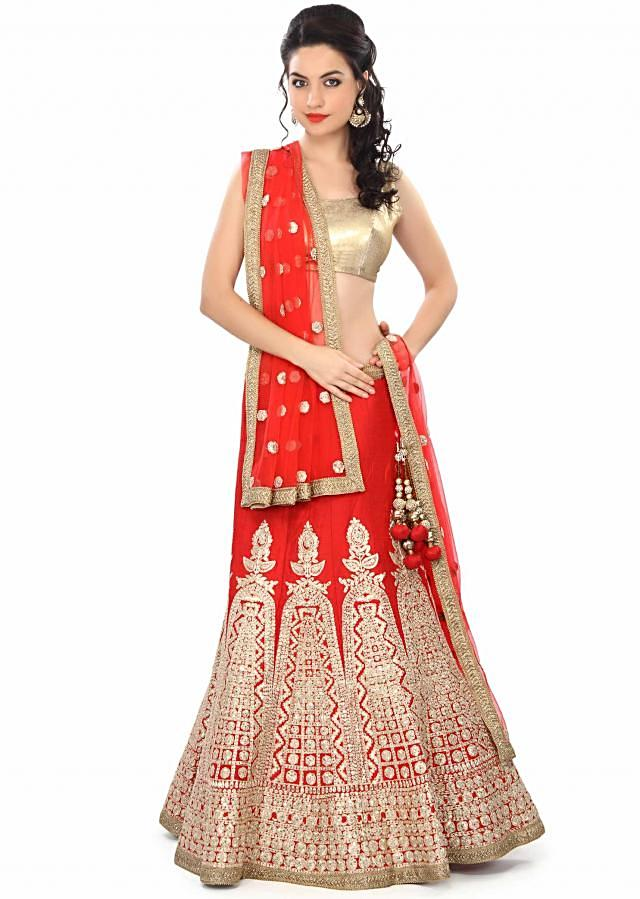 Red lehenga embellished in zari and sequin embroidery only on Kalki