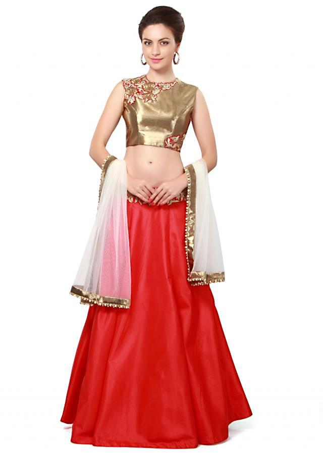 Red lehenga matched with gold embroidered blouse only on Kalki