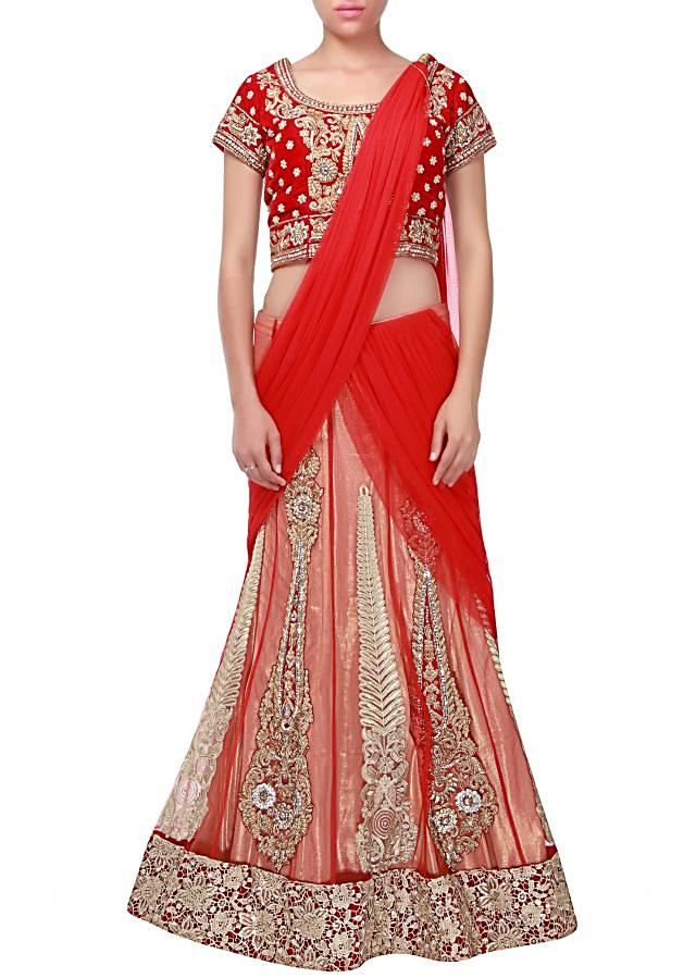 Red lehenga Saree adorn in zari and zardosi embroidery only on Kalki