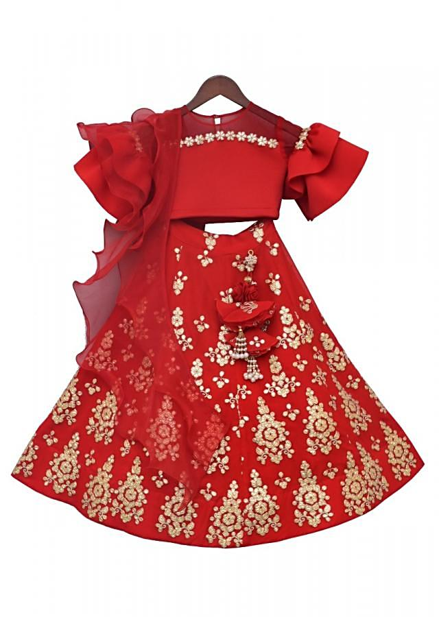 Red Lycra Choli with Gotta embroidered Lehenga by Fayon Kids