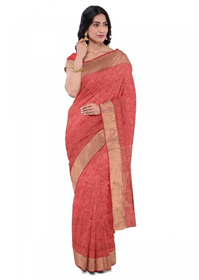 Red Orange Saree In Banarasi Silk With Matching Blouse Piece Online - Kalki Fashion
