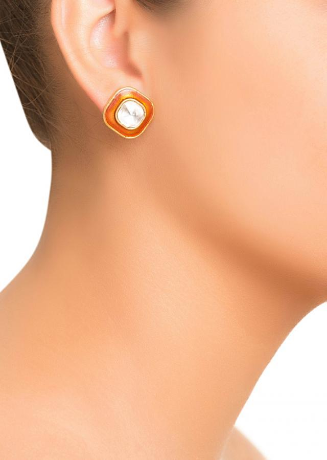 Red Orange Enamel Studs