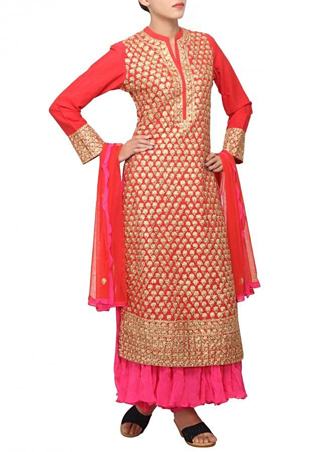 Red outfit embellished in zari embroidery only on Kalki