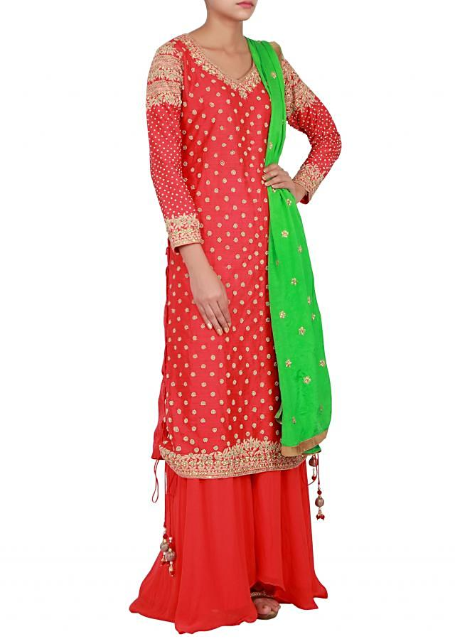Red pakistani suit embellished in zadosi and thread only on Kalki