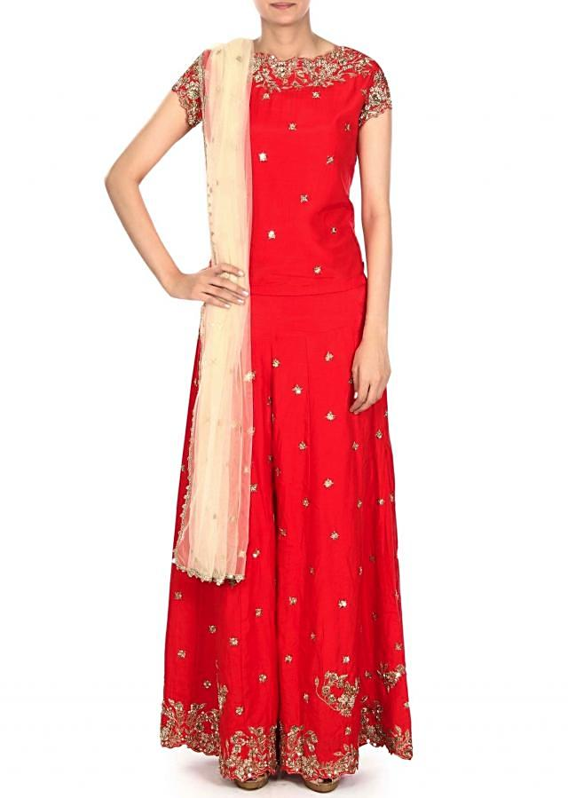 Red palazzo suit adorn in zardosi embroidery only on Kalki