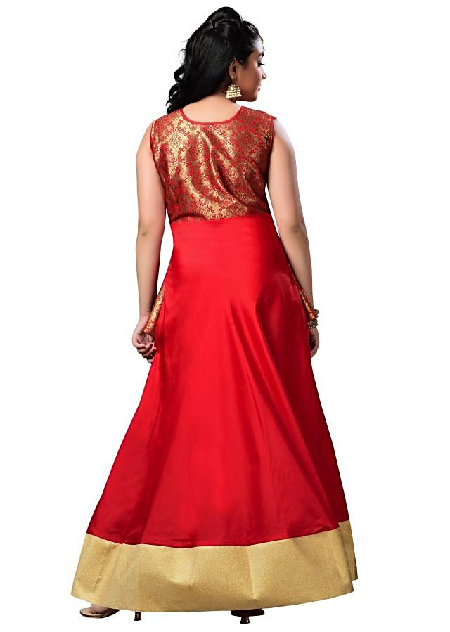 Red Party wear Indo Western Gown in Taffeta Silk and Banarasi Jacquard