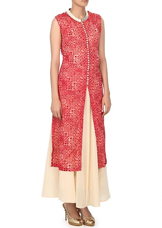 Red pritned kurti matched with long inner only on Kalki