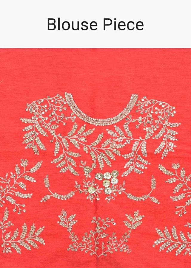 Red Lehenga Choli In Embellished Raw Silk Paired With Gold Net Dupatta Online - Kalki Fashion