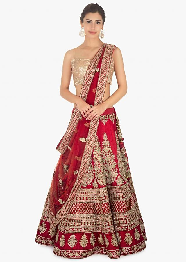Red lehenga set in raw silk paired with net dupatta embellished in floral embroidery  Online - Kalki Fashion