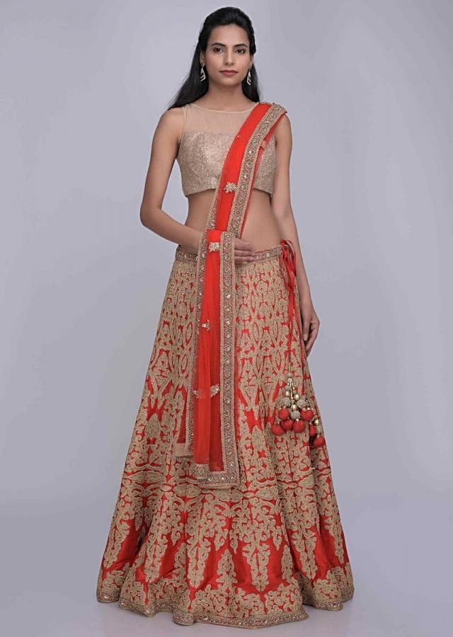 Red Lehenga Choli In Raw Silk With Matching Net Dupatta Online - Kalki Fashion