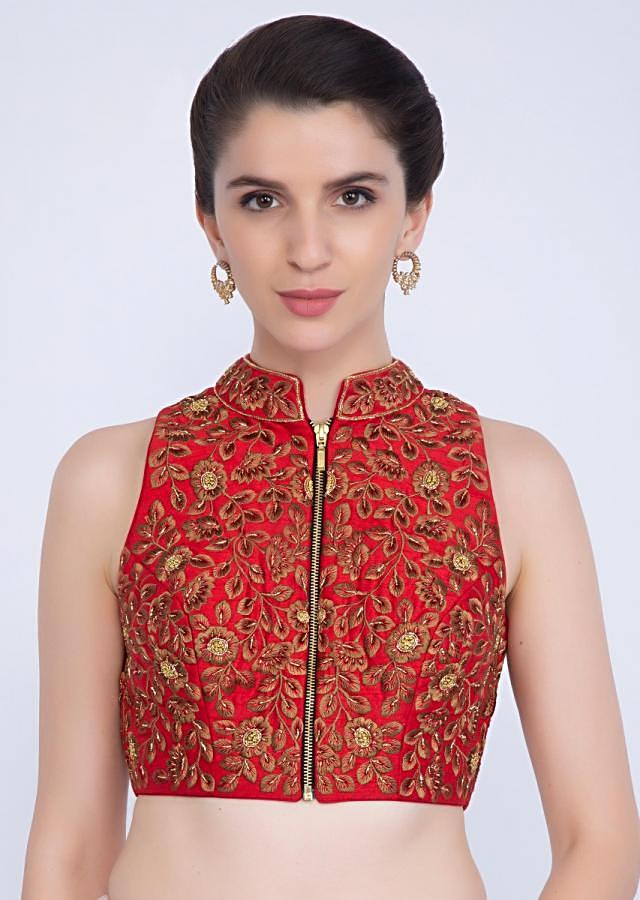 Red raw silk  mandarin neck blouse with front zip opening only on kalki