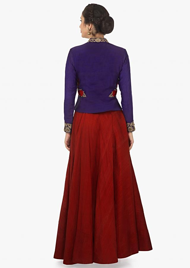 Red raw silk skirt with Persian blue full sleeves jacket with resham and zardosi work only on kalki