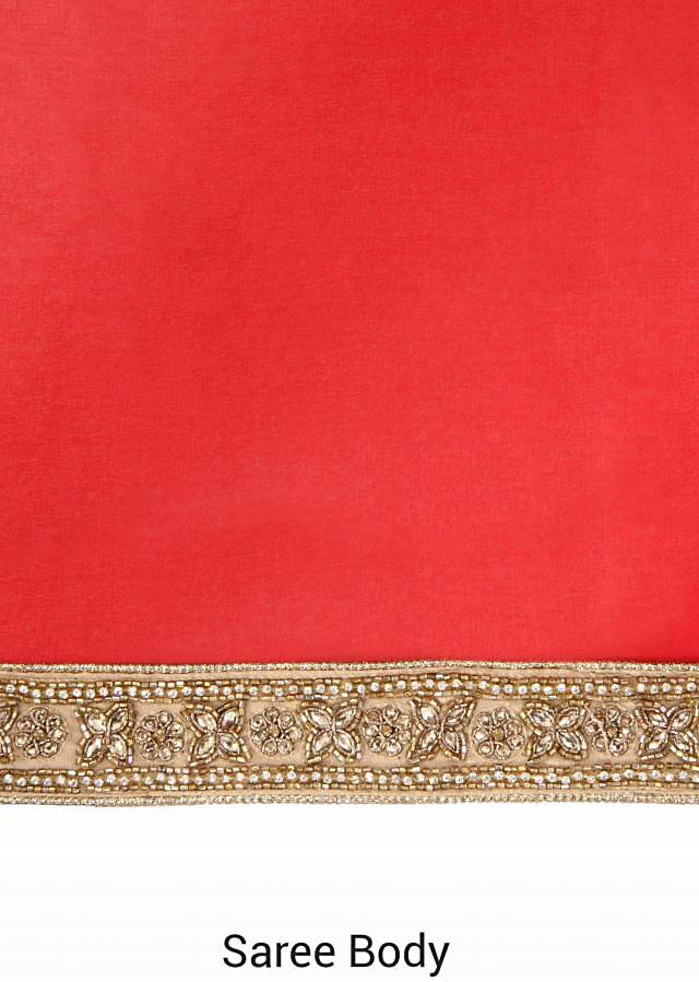 Red saree adorn in kundan embroidery only on Kalki
