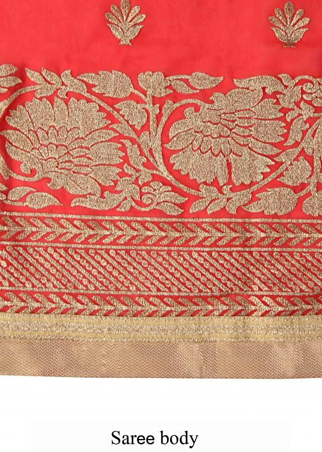 Red saree embellished in zari embroidery all over only on Kalki