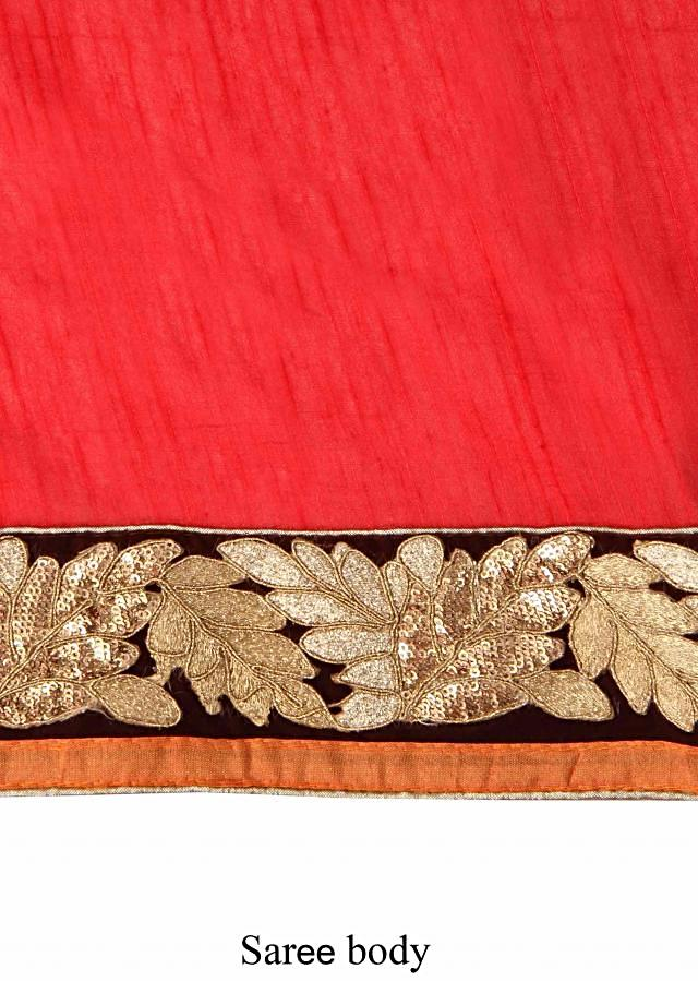 Red saree enhanced in aari and sequin embroidery only on Kalki