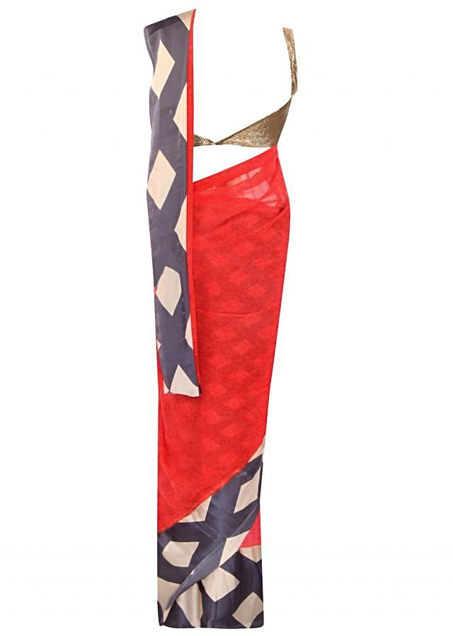 Red saree featuring in printed satin border only on Kalki