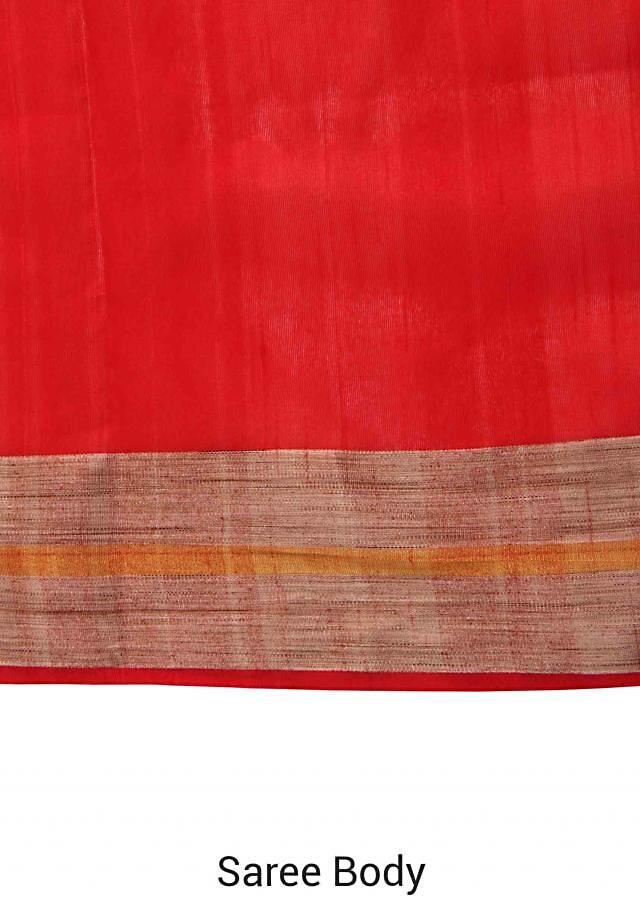 Red saree in beige and gold contrast border only on Kalki