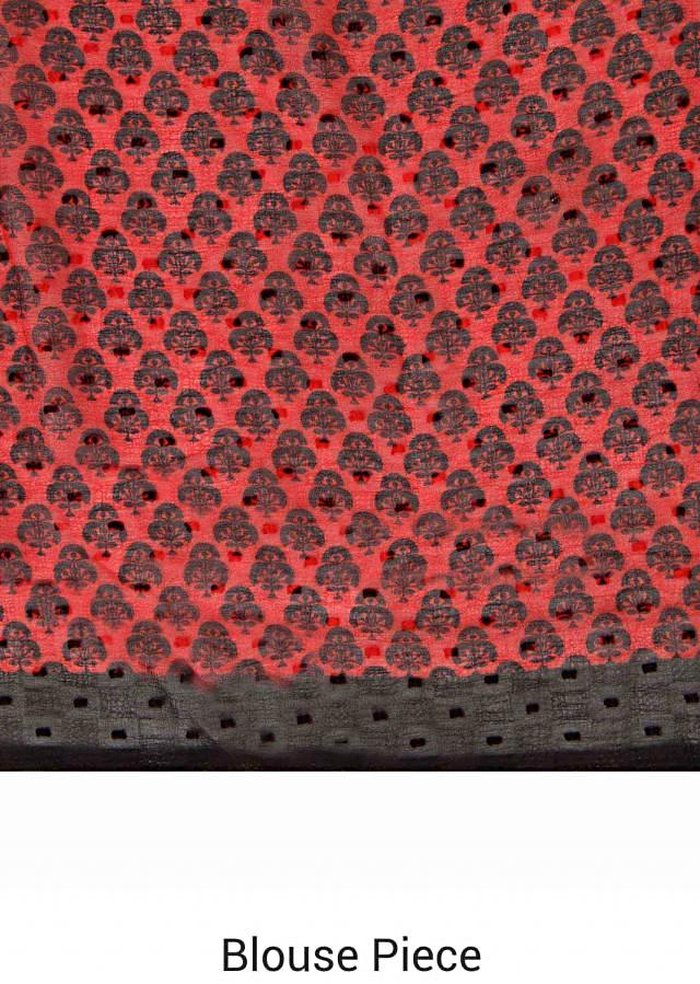 Red saree in black abstract print only on Kalki