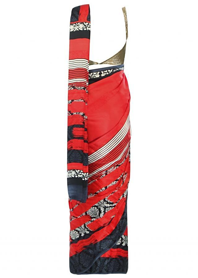 Red saree with printed border only on Kalki