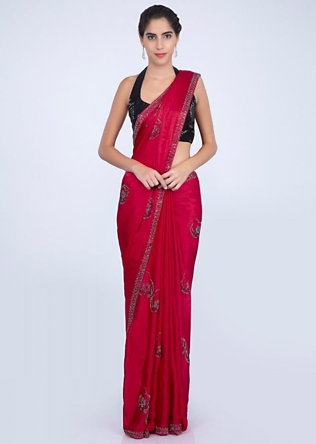 Red satin chiffon saree with embroidered butti and border only on kalki