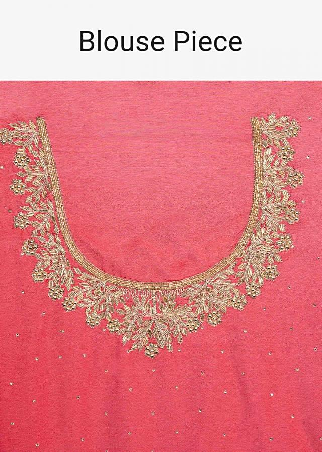 Red satin chiffon saree with heavy golden embroidered border only on Kalki