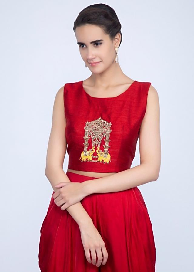 Red Dhoti Pant In Satin With Center Embroidered Crop Top And Navy Blue Long Jacket Online - Kalki Fashion