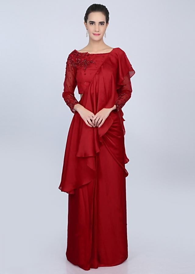 Red satin ready pleated saree with ruffled pallo and net blouse only on kalki
