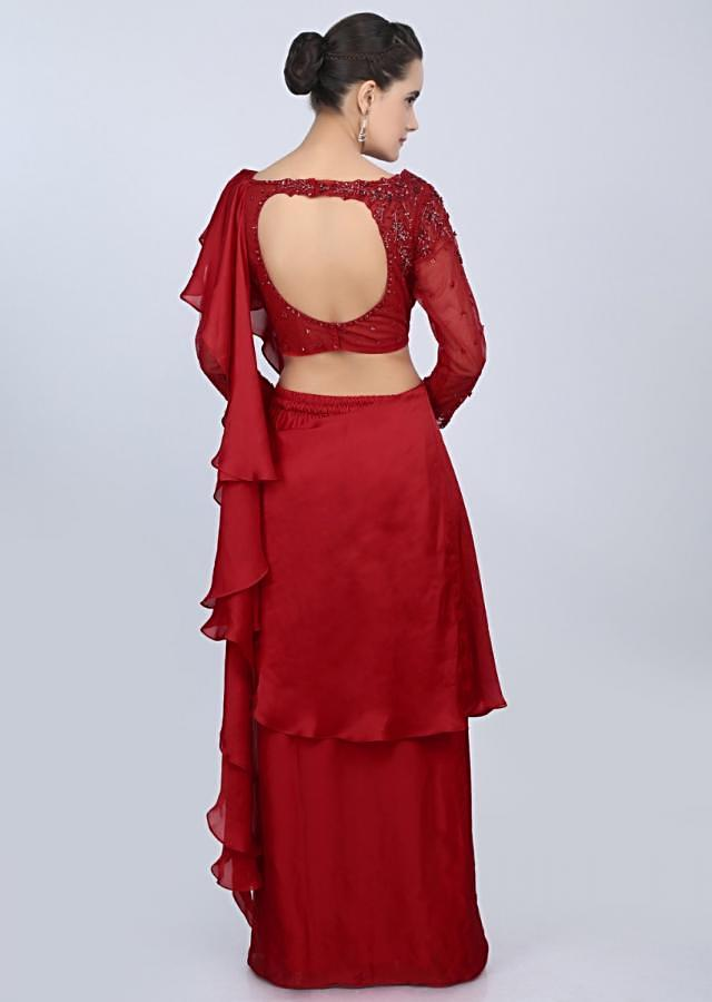 Red Ready Pleated Saree In Satin With Ruffled Pallu And Net Blouse Online - Kalki Fashion
