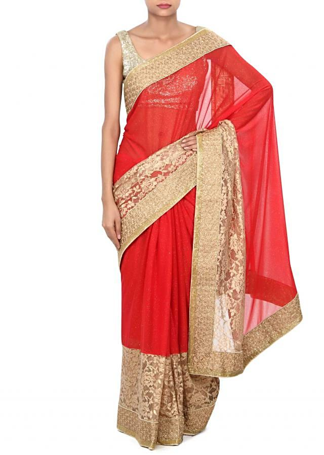 Red shimmer saree enhanced in lace border only on Kalki